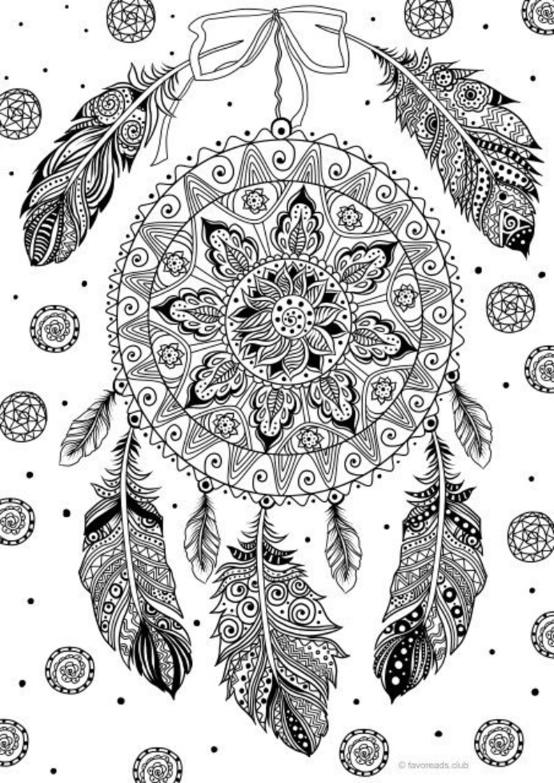 photograph regarding Dream Catcher Printable identify Aspiration Catcher - Printable Grownup Coloring Web page in opposition to Favoreads (Coloring e-book web pages for grown ups and young children, Coloring sheets, Coloring styles)