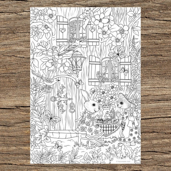 Tea Time Printable Adult Coloring Page From Favoreads Etsy