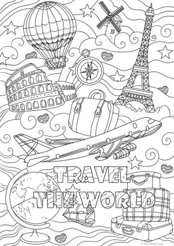 Traveling - Printable Adult Coloring Page from Favoreads (Coloring book  pages for adults and kids, Coloring sheets, Colouring designs)