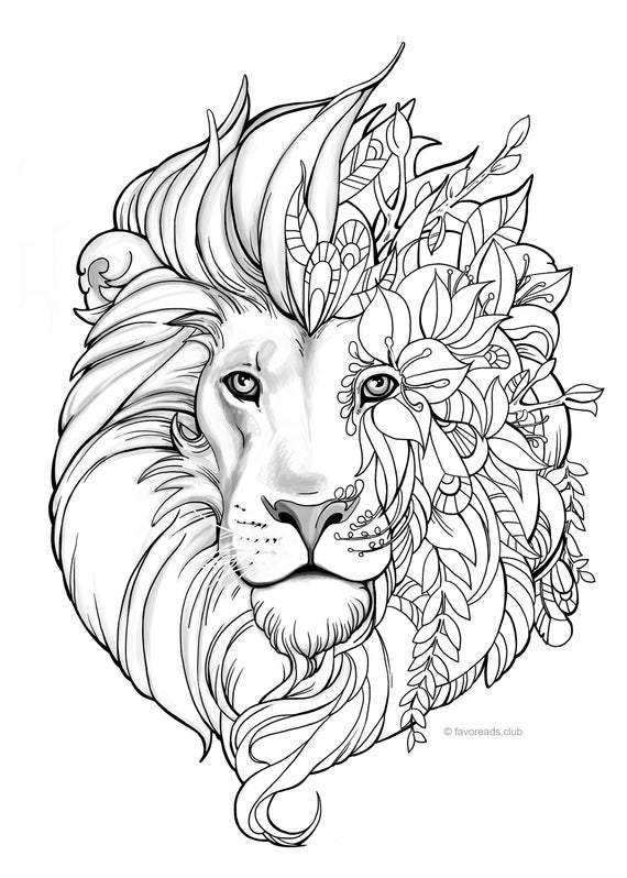 Fantasy Lion - Printable Adult Coloring Page from Favoreads (Coloring book  pages for adults and kids, Coloring sheets, Coloring designs)