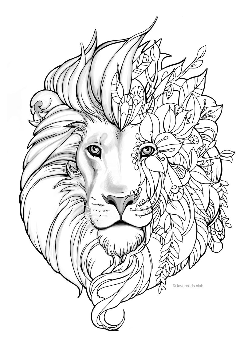 Fantasy Lion Printable Adult Coloring Page from Favoreads ...