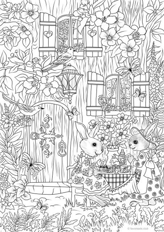 Tea Time - Printable Adult Coloring Page from Favoreads (Coloring book  pages for adults and kids, Coloring sheets, Coloring designs)