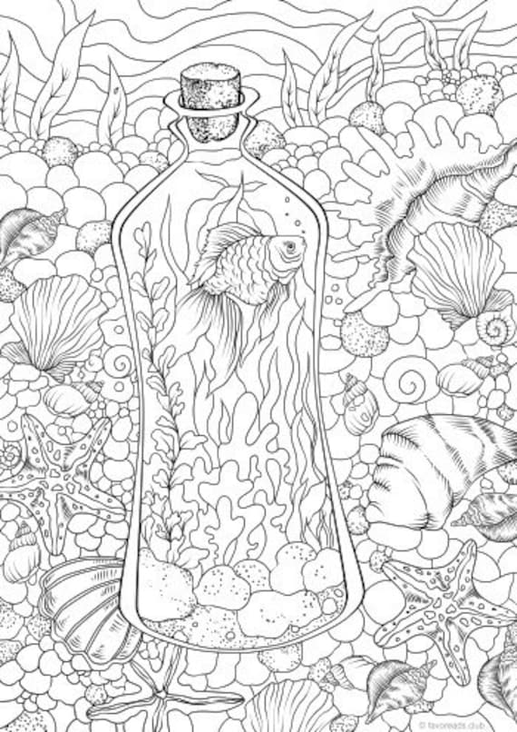 Underwater - Printable Adult Coloring Page from Favoreads (Coloring book  pages for adults and kids, Coloring sheets, Colouring designs)