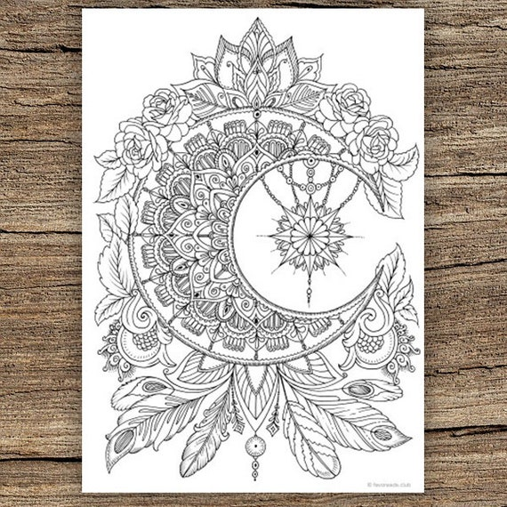Printable Sleeping Moon Coloring Page | 570x570