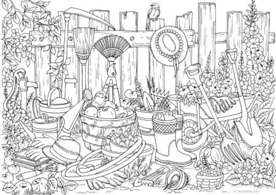 Garden Stuff - Printable Adult Coloring Page from Favoreads (Coloring book  pages for adults and kids, Coloring sheets, Coloring designs)