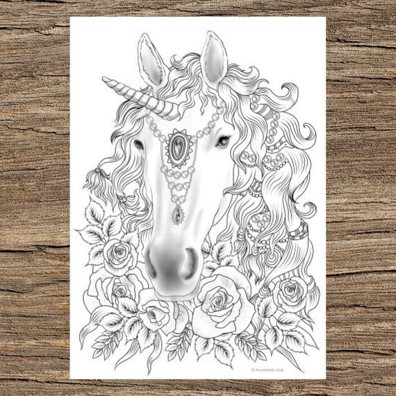 Unicorn Printable Adult Coloring Page From Favoreads Etsy