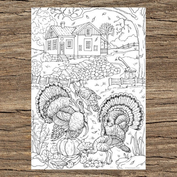 Turkeys  Printable Adult Coloring Page from Favoreads