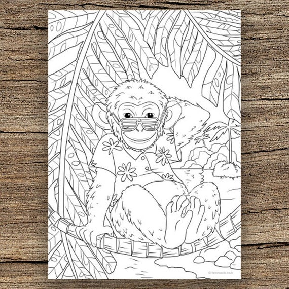 Monkey head - Monkeys Adult Coloring Pages   570x570
