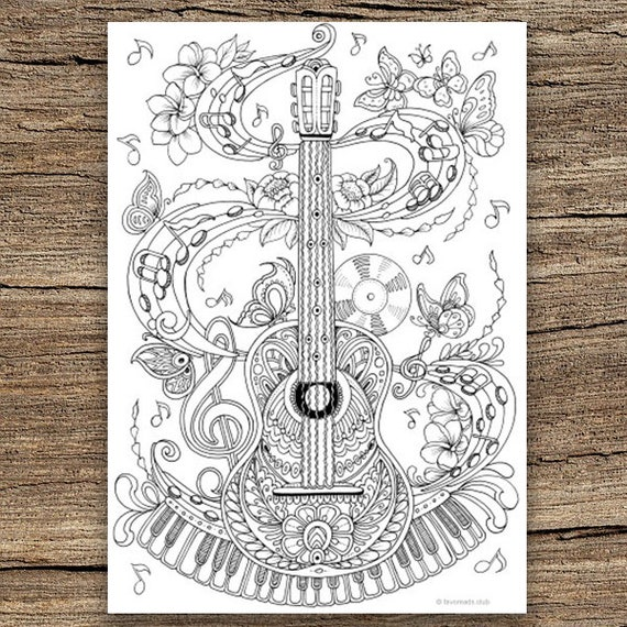 Guitar Printable Adult Coloring Page From Favoreads Coloring Etsy