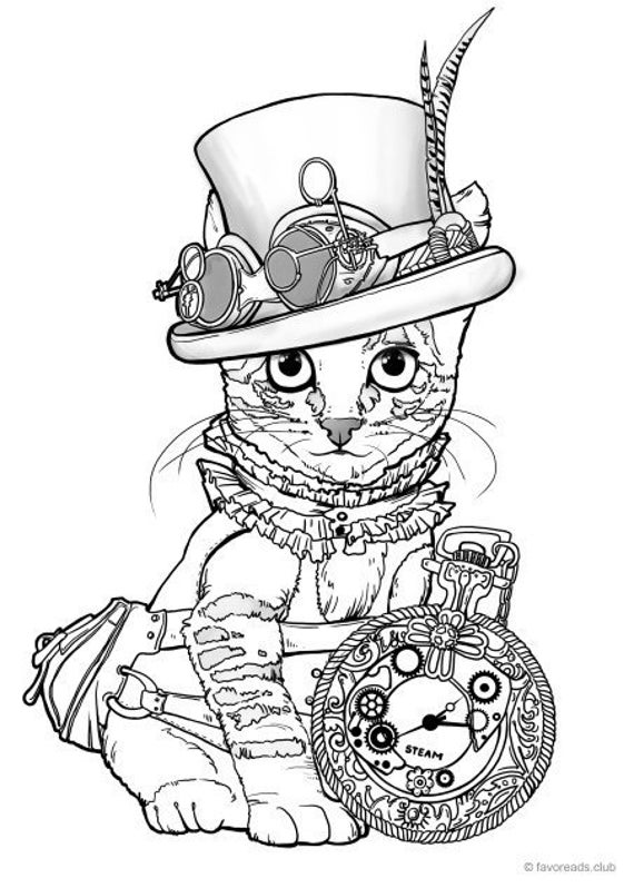 Steampunk Cat Printable Adult Coloring