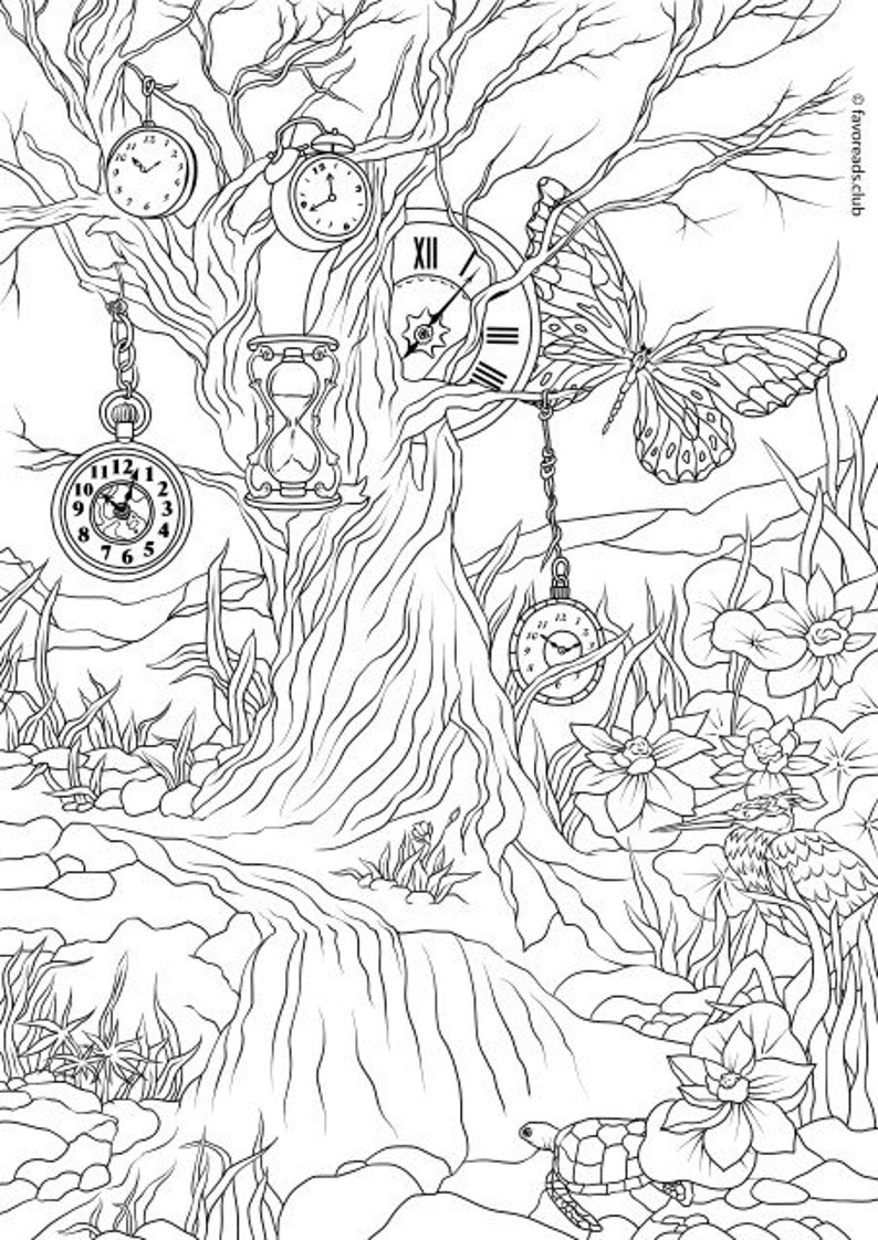 Clock Printable Adult Coloring Page from Favoreads ...