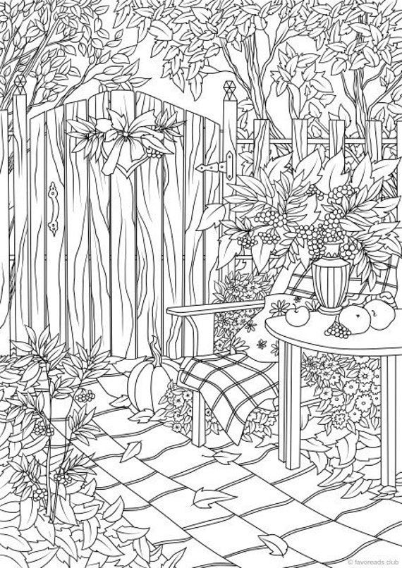 free autumn coloring pages for adults | Autumn Garden Printable Adult Coloring Page from Favoreads ...