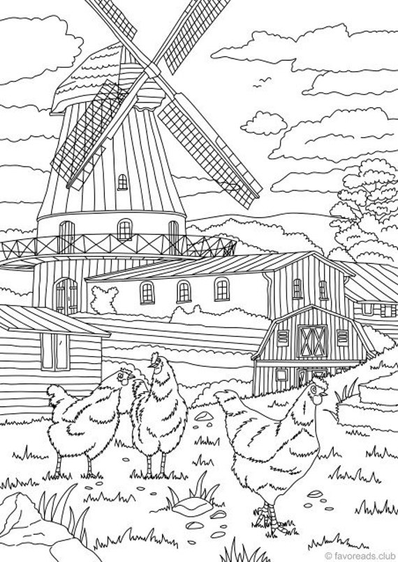 COUNTRY SCENES COLORING BOOK Coloring Page 2 Example ...