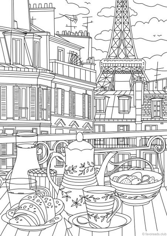 printable paris coloring pages   Paris Printable Adult Coloring Page from Favoreads ...