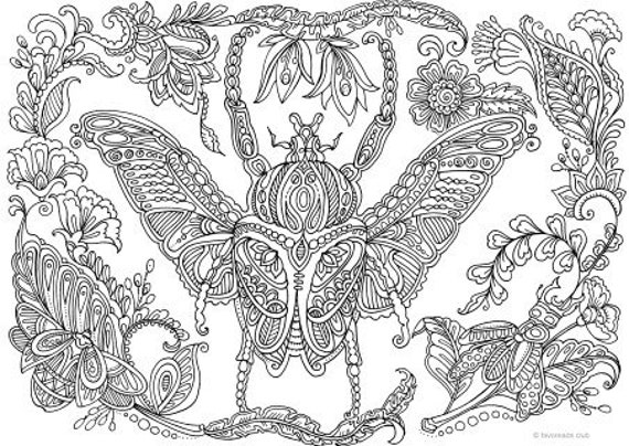 Bug Printable Adult Coloring Page From Favoreads Coloring Etsy