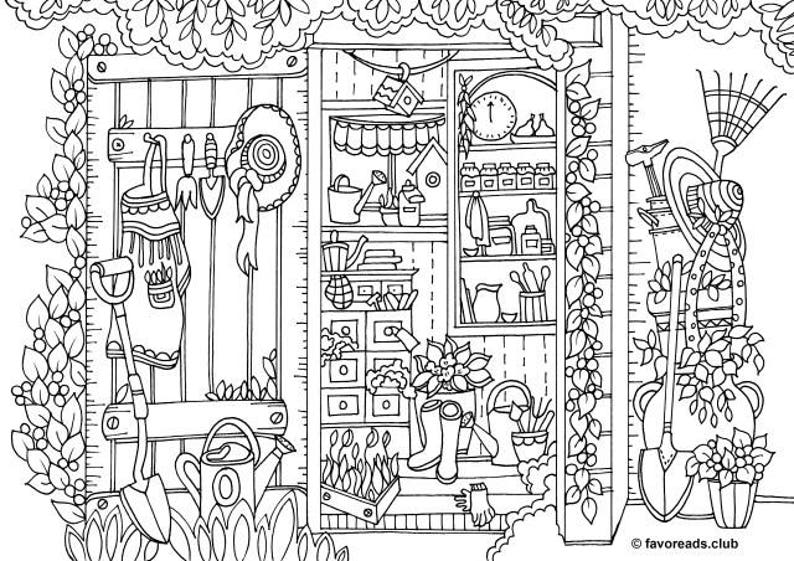 Pantry - Printable Adult Coloring Page from Favoreads (Coloring book pages  for adults and kids, Coloring sheets, Coloring designs)