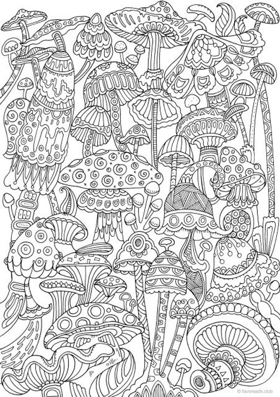 Mushrooms - Printable Adult Coloring Page from Favoreads (Coloring book pages for adults and kids, Coloring sheets, Coloring designs)