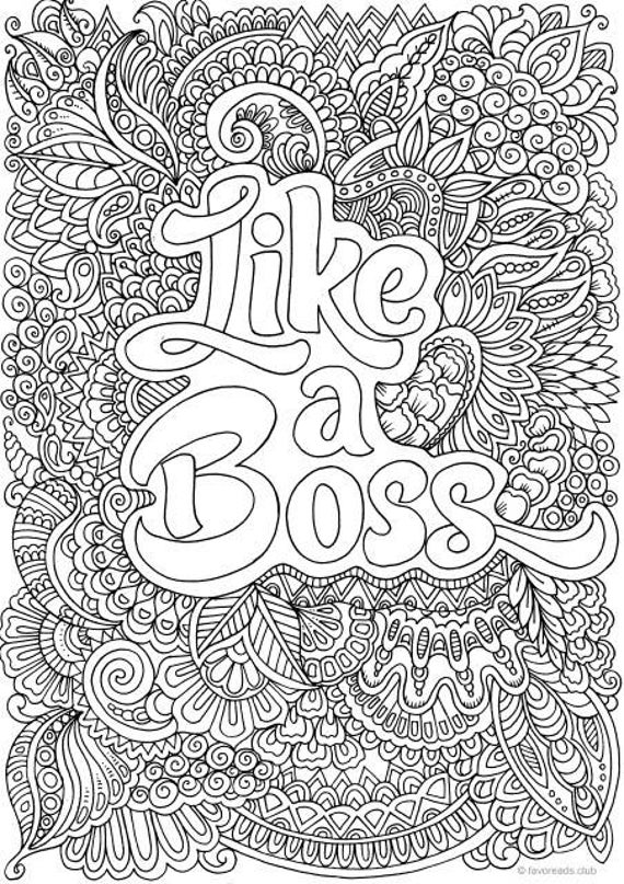 Like A Boss Printable Adult Coloring Page From Favoreads