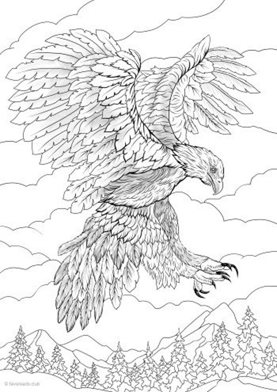 Eagle Printable Adult Coloring Page From Favoreads Coloring Etsy