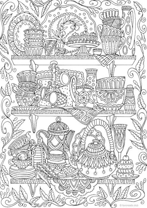 Cups Printable Adult Coloring Page From Favoreads Coloring