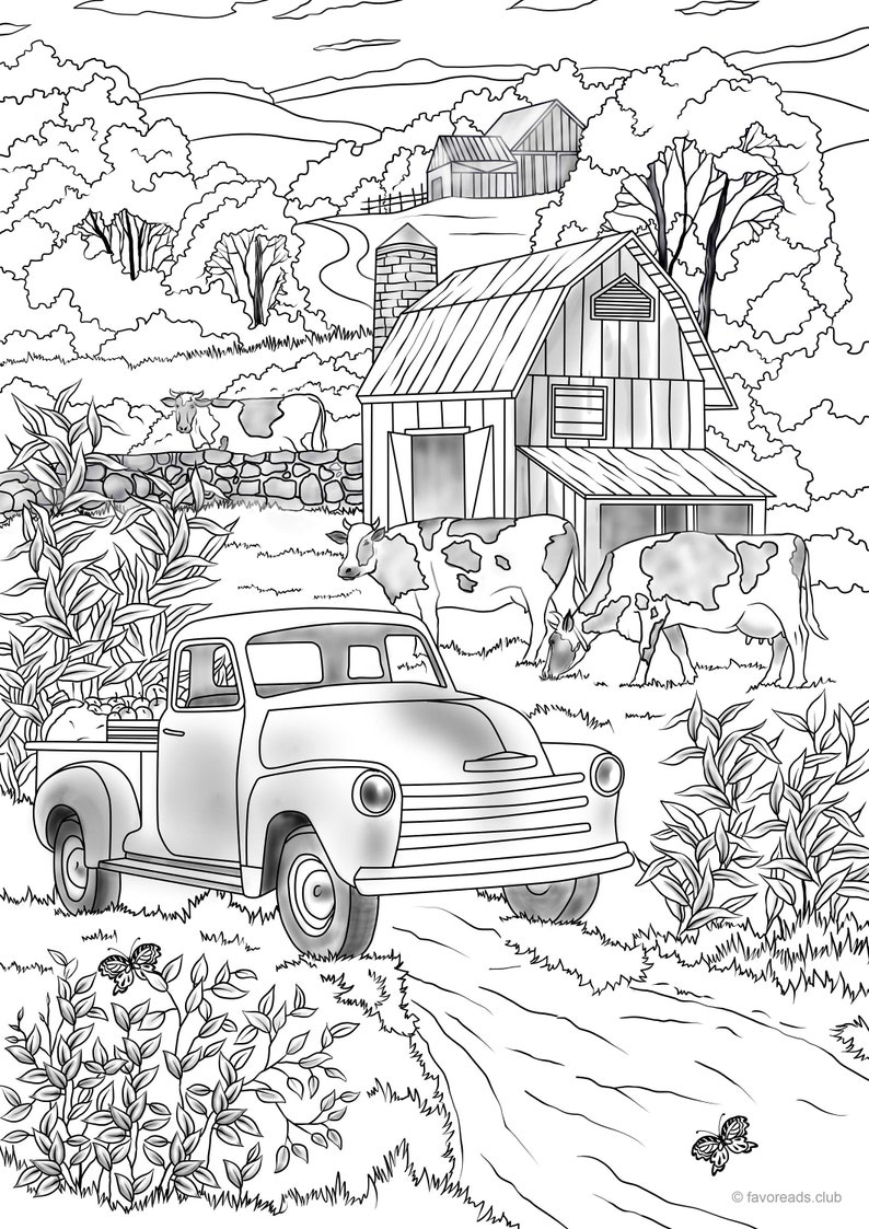 Country Car Printable Adult Coloring Page from Favoreads | Etsy