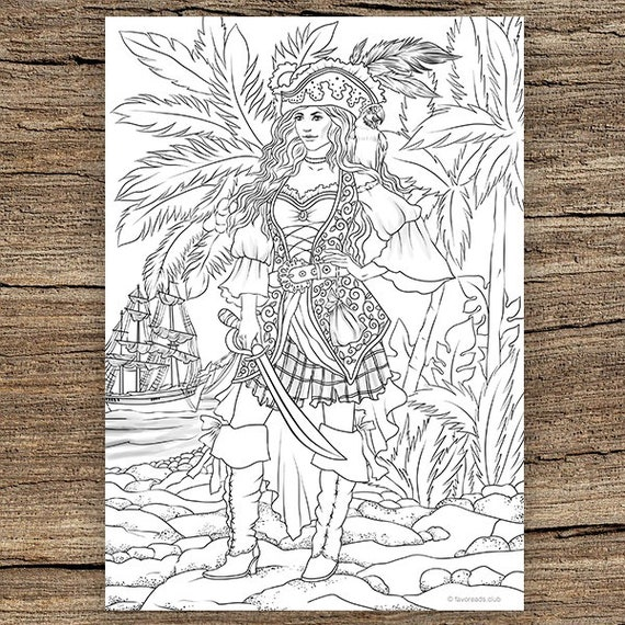 Pirate Girl - Printable Adult Coloring Page from Favoreads (Coloring book  pages for adults and kids, Coloring sheets, Colouring designs)