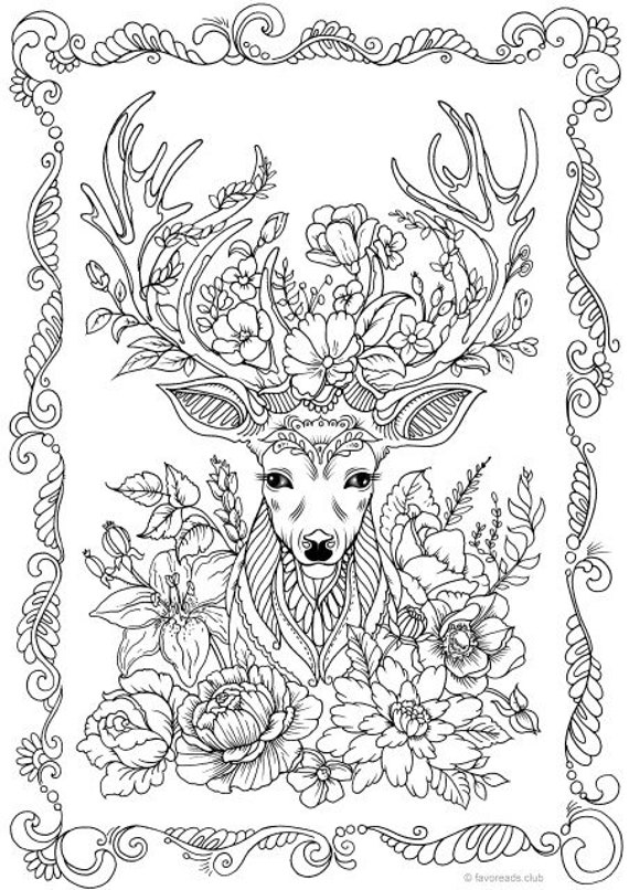 Fantasy Deer Printable Adult Coloring Page from Favoreads