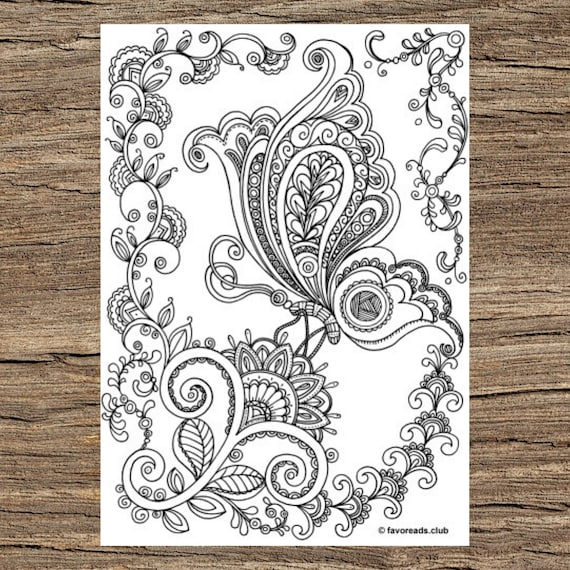 - On A Flower Printable Adult Coloring Page From Favoreads Etsy