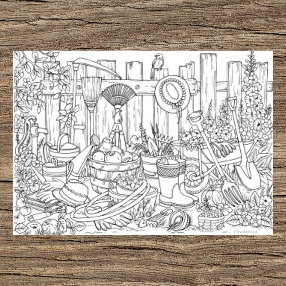 Garden Stuff  Printable Adult Coloring Page from Favoreads
