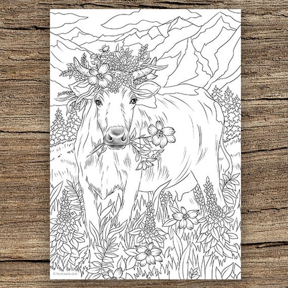 Cow In Flowers Printable Adult Coloring Page From Favoreads Etsy