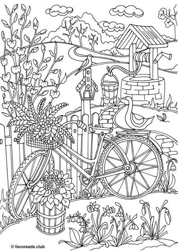 Bicycle Printable Adult Coloring Page from Favoreads | Etsy