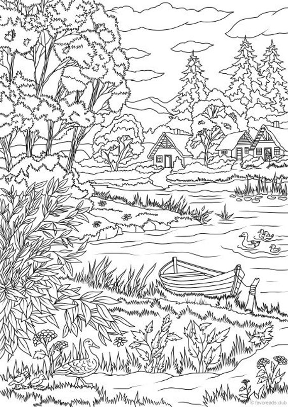 lake view printable adult coloring page from favoreads etsy. Black Bedroom Furniture Sets. Home Design Ideas