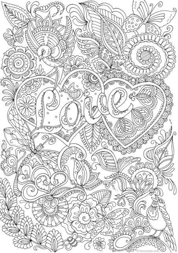 Love In Details Printable Adult Coloring Page From
