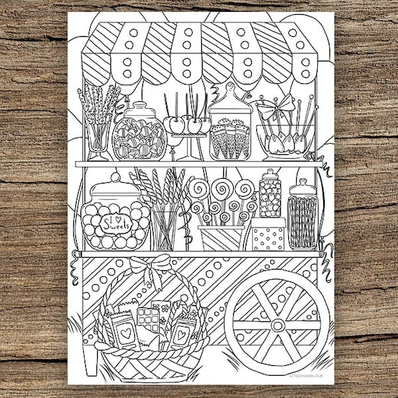 Candy Shop Printable Adult Coloring Page From Favoreads Etsy