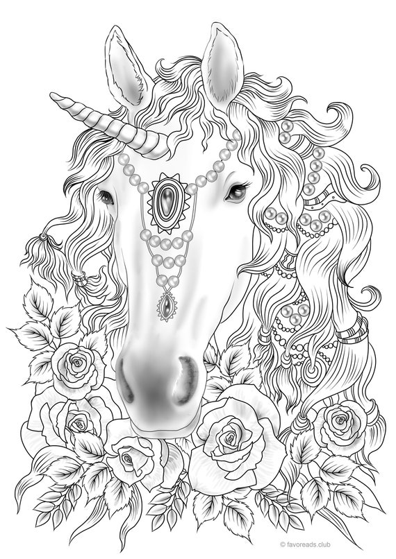 Unicorn Printable Adult Coloring Page from Favoreads | Etsy