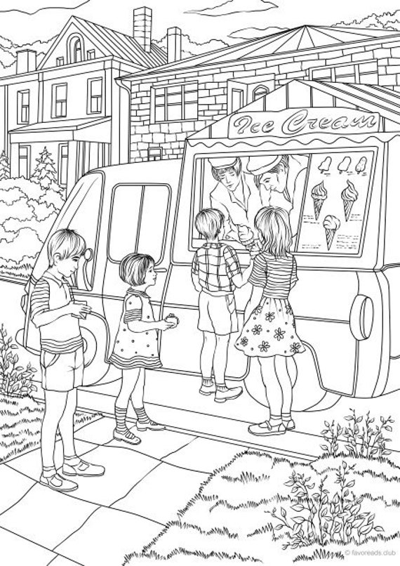 - Ice Cream Truck Printable Adult Coloring Page From Favoreads Etsy