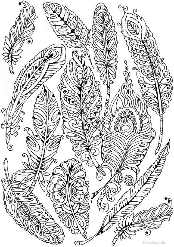 Feathers Printable Adult Coloring Page From Favoreads Etsy