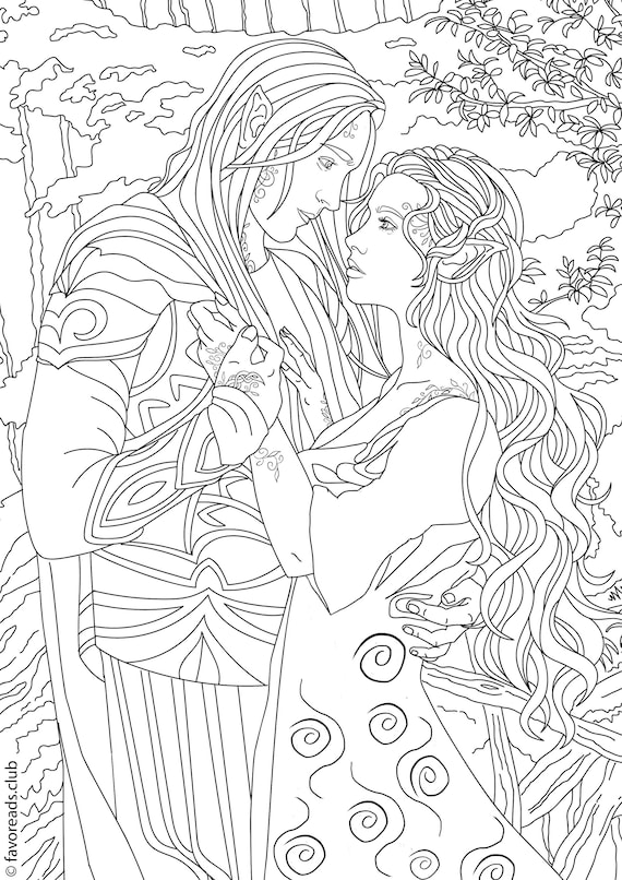 Fantasy Romance Printable Adult Coloring Page from ...