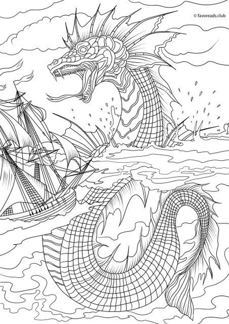 Sea Monster Printable Adult Coloring Page from Favoreads ...
