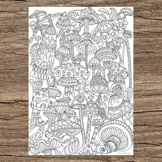 Adult Coloring Pages Mushrooms Gallery | Mandala coloring pages ... | 570x570