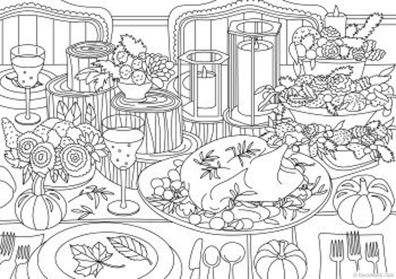 Thanksgiving Printable Adult Coloring Page from Favoreads ...