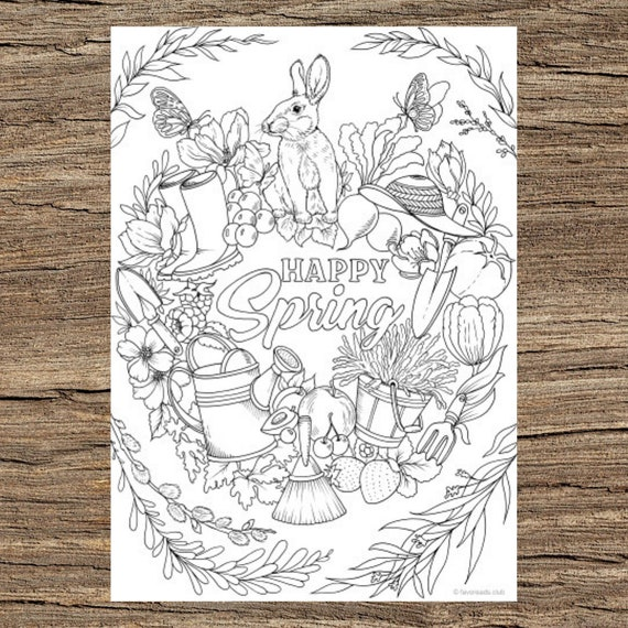 Happy Spring  Printable Adult Coloring Page from Favoreads
