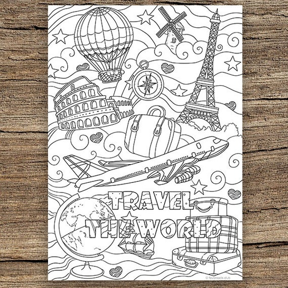Traveling Printable Adult Coloring Page From Favoreads Etsy