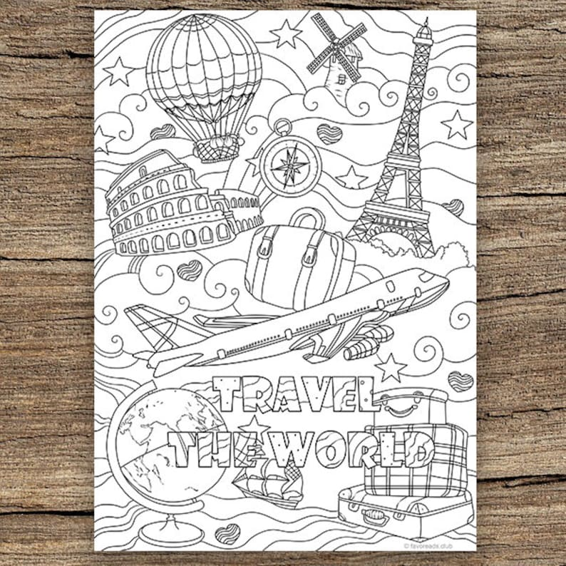 Awesome Traveling Printable Adult Coloring Page From Favoreads Coloring Book Pages For Adults And Kids Coloring Sheets Colouring Designs Interior Design Ideas Tzicisoteloinfo