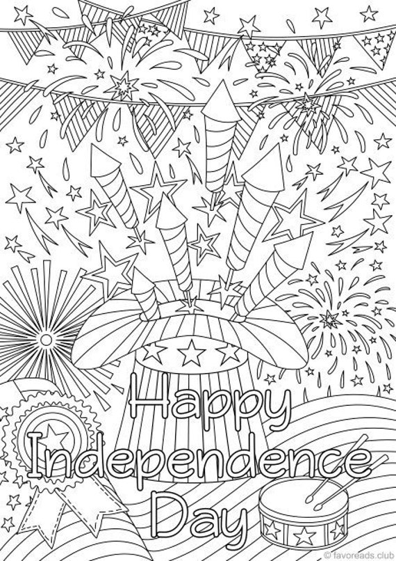 Independence Day Printable Adult Coloring Page From Etsy