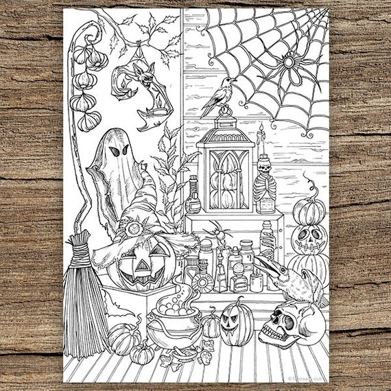 Halloween Stuff - Printable Adult Coloring Page from Favoreads (Coloring  book pages for adults and kids, Coloring sheets, Colouring designs)