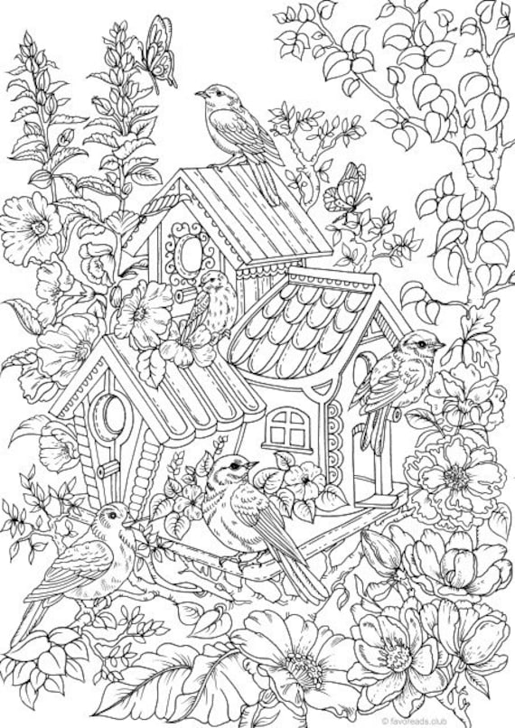 free bird house coloring pages | Birdhouse Printable Adult Coloring Page from Favoreads | Etsy