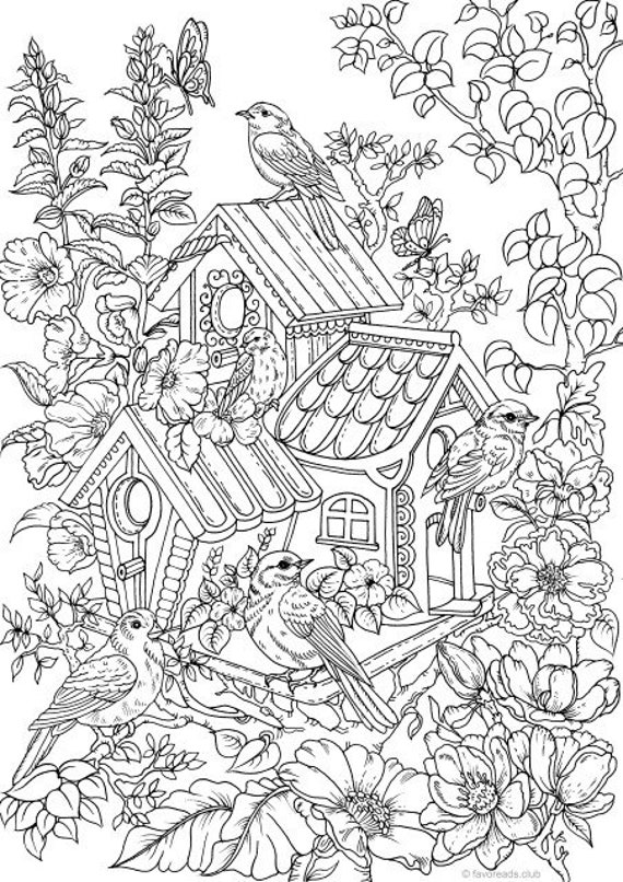 adualt coloring pages | Birdhouse Printable Adult Coloring Page from Favoreads | Etsy
