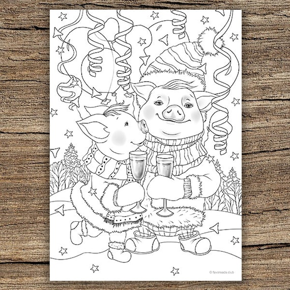 happy holidays printable adult coloring page from favoreads etsy. Black Bedroom Furniture Sets. Home Design Ideas