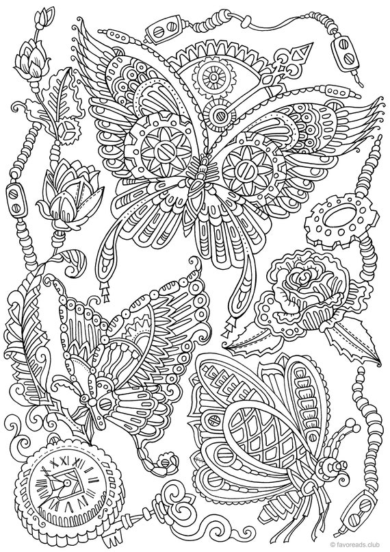 adualt coloring pages | Steampunk Butterflies Printable Adult Coloring Page from ...